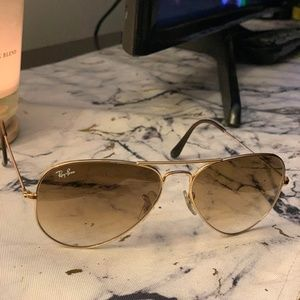 Ray Ban aviator gold women's gradient brown